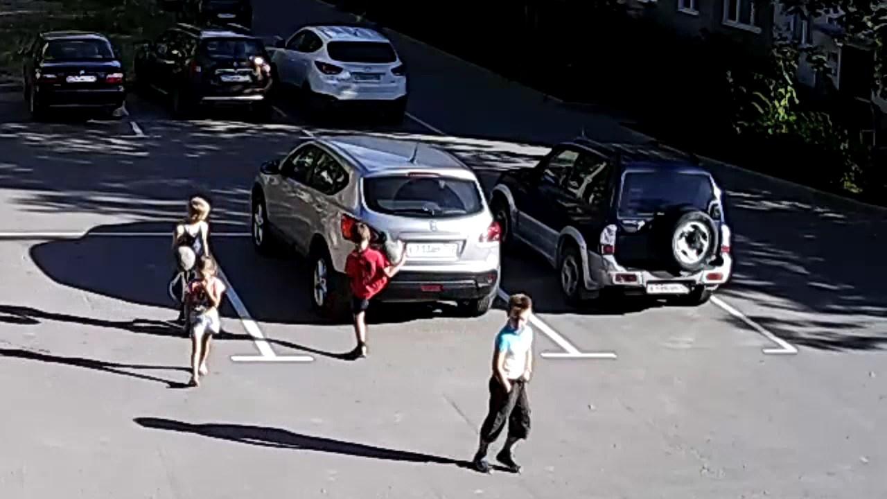 Дети бьют животных и машины